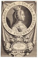 Portrait XVIIe Jeanne d'Auvergne Boulogne Épouse du Roi Jean II de France 1635