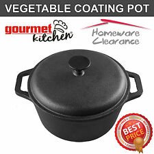 VEGETABLE COATING Cast Iron Round Stock Pot Casserole Dish Dutch Oven Kitchen
