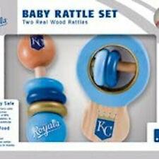 Kansas City Royals Wood Rattle Set Baby Toddler Reach & Grab Toy Blue Game Kid
