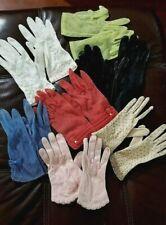 7 Pair Vintage Ladies Gloves Various, Fishnet, Beaded, Leather, Sz 6.5 - 7.5
