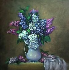Lilac flowers vase original painting oil canvas 16 x 16 signed