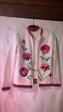Twin Sweater Set Cream Hand Knit Bright Flowers and Sequins Small Lovely Set EXC