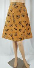 Vintage Collage Sport Brown Camel Suede Skirt Floral Print A Line High Waist