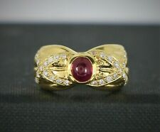 $3200 Vintage Estate 18K Gold Cabochon Ruby Round Diamond X Cocktail Ring Band 6
