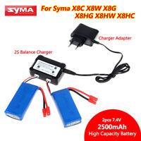 2PCS 7.4V 2500mAh 25C Power Battery +Balance Charger For Syma X8C X8W X8G Drone