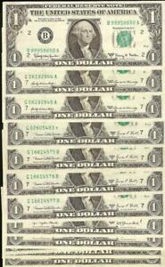 12 PC LOT 1963 A 1969 D 1977 $1 DOLLAR FEDERAL RESERVE NOTES PAPER MONEY 1 STAR