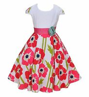 New Girls White and Hot Pink Flower Party Dress in 6 7 8 9 10 Years