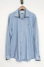 Barbour Mens Shirt L Solid Blue Cotton Wool Regular Fit Button Front Long Sleeve