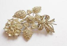 VINTAGE ART DECO SILVER TONE CLEAR GLASS CRYSTAL FLORAL BOUQUET FLOWERS BROOCH