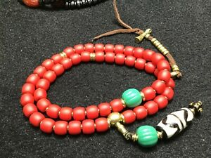 Fine Chinese Tibetan Buddhist  OLD Glass mala bracelet.   2