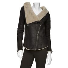 Helmut Lang shearling jacket moto leather M brown distressed