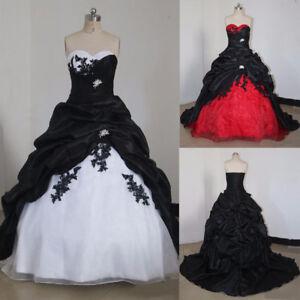 Gothic Wedding Dresses Vintage Taffeta Ruffles Sweetheart Bridal Gowns Plus Size