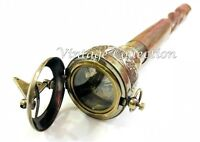 Vintage Brass Push Button Compass Handle Wooden Walking Stick Antique Style Cane