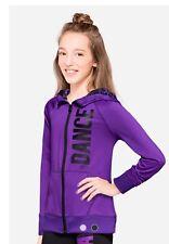 NWT JUSTICE Girls 16 Purple  Animal Print DANCE Sports Hoodie