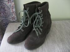 Calvin Klein Jeans Ankle Boots Women's Suede Dark Brown Lace Up Size 8 Low Heel