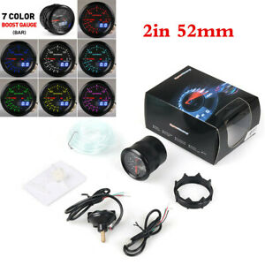 Digital Display 2in Turbo Boost Gauge For Car Motor Black 2Bar Meter 7 Color LED