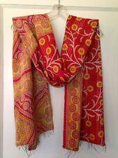 Indian cotton kantha scarf floral geo print hand stitched vintage sari fabric