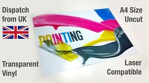 A4 Clear Vinyl Sticker Paper Glossy Waterproof Sheet Laser Printable Only
