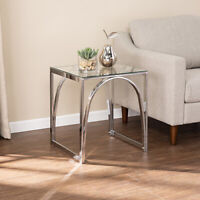 Square Console Table Sofa Side Accent Contemporary Home Indoor Furniture Chrome