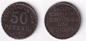 Bochum Gelsenkirchen Hattingen 50 Pfennig 1918 Eisen iron stampsdealer