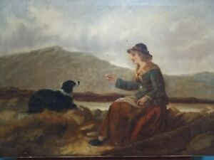 Victorian Oil Painting, Girl with Dog