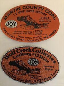 JOY COAL MINING STICKERS....EARLY 80's ORANGE GLITTER