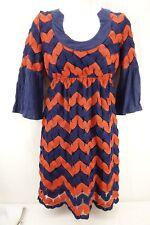 JUDITH MARCH Knee Length Dress Women's Medium Orange Navy Striped 3/4 Sleeve