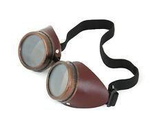 Leather Steampunk Antique Copper Motorcycle Flying Goggles Vintage Pilot Biker
