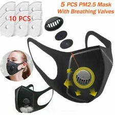 5X Reusable Washable Face Mask Filters With Breathing Valves & Activated Carbon