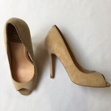 RMK Beige Suede Peep Toe Heels, Stiletto, Leather, Size 37