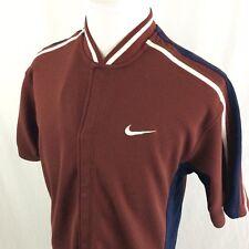 Vintage Nike Basketball Warmup Shirt XL Burgundy Navy Blue Snap Button 90s Cavs