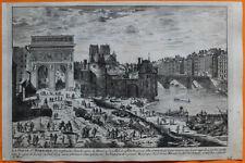 VAN DER AA Gravure originale c1725 PORTE SAINT-BERNARD Paris Tournelle St-Victor