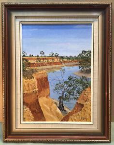 Patricia Day Red cliffs Near Mildura Framed Oil Painting