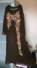Indian,Pakistani Asian Tradional Brown Sequinned Outfit Dress with Dupatta Scarf