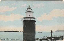 Eastport Lubec Maine Channel Light vintage postcard