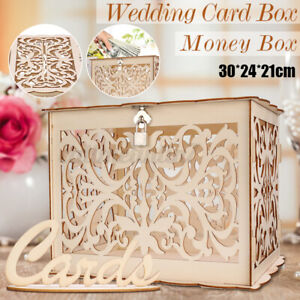 Wedding Card Box Wishing Well Gifts Post Box Large Gold with 3D Sign Decoration