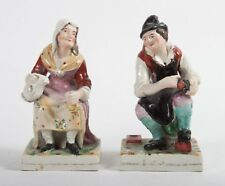 Antique Pair English Staffordshire Figurines - Cobbler & Beggar Woman - Early
