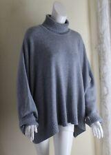 Eskandar O/S Oversized 100% Cashmere Heavy Plush Blue-Gray Turtleneck Sweater