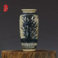 """Blue and white Porcelain yuan Dynasty marked handpainted bamboo wax vase 6.5"""""""
