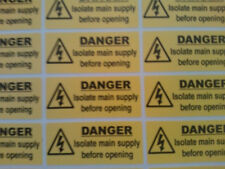 40 X Danger Isolate main supply stickers 50mm X 20mm Electrical Warning Labels