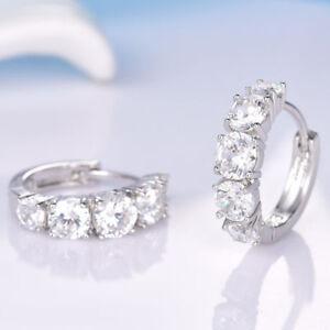 Pretty 18K Gold White Gold Diamond Hoop Earring 402