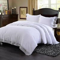 Simple&Opulence 100% Washed Linen Coconut or Hemstitch Duvet Cover Set White