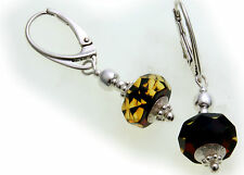 Ladies Dangle Earrings real Amber green facetted Genuine Silver Sterling silver