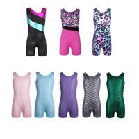 Kids Girls Splice Ballet Gymnastics Leotard Jumpsuit Bodysuit Dance Costume Wear