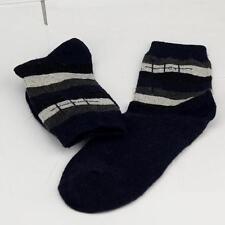 Winter Men Wool Blend Cross stripe Dark Blue Casual Dress Socks Sports Socks o6