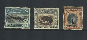 NORTH BORNEO Scott # 65, 120 and 124, ALL MINT / F - VF / Hinged!! SCV $220.00