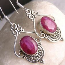Handmade Drop/Dangle Ruby Sterling Silver Fine Earrings