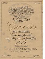 Etichetta Vino Grignolino del Piemonte 1979 A.C.Ro. Vini