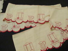 Vintage French Shelf Trim, Linen, Red on Cream, Embroidery, Very Long.