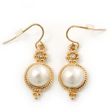 Vintage Inspired White Simulated Pearl Drop Earrings In Gold Plating - 35mm Leng